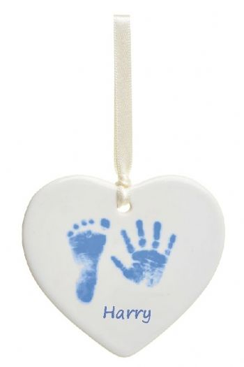 Hand or Foot Prints Ceramic Heart - Christmas Tree Decoration